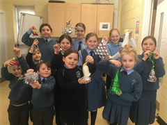 Winners of the recycled Christmas decoration competition